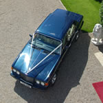 Yorkshire Wedding Cars - Royal Blue Bentley Turbo RL, aerial view. Based near Harrogate, North Yorkshire