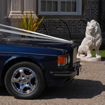 Yorkshire Wedding Cars - Royal Blue Bentley Turbo RL, front 1/4. Based near Harrogate, North Yorkshire
