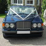 Yorkshire Wedding Cars - Royal Blue Bentley Turbo RL, front view. Based near Harrogate, North Yorkshire